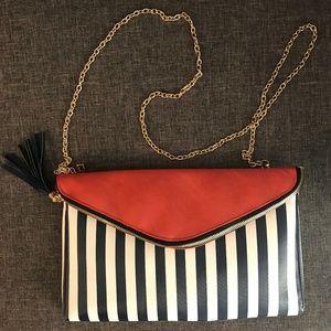 Melie Bianco Striped Navy/Orange Purse Brand New